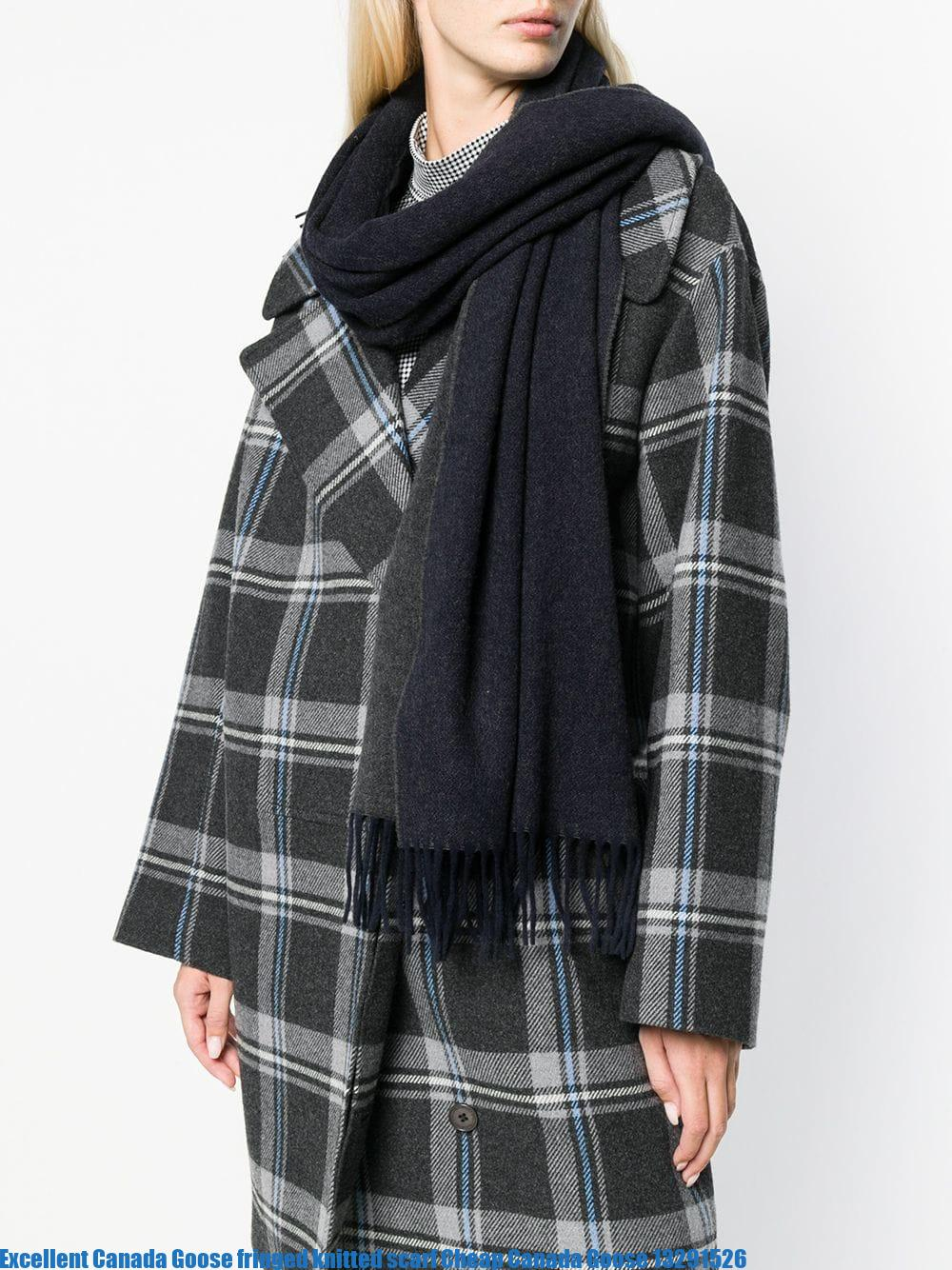 Excellent Canada Goose fringed knitted scarf Cheap Canada Goose 13291526